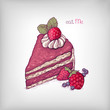 Vector illustration of cake with strawberry