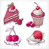 Fototapety Vector illustrations of dessert