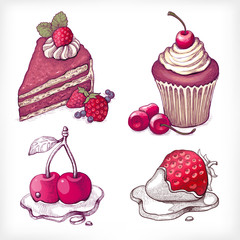 Vector illustrations of dessert
