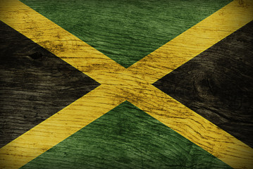 JAMAICAN FLAG ON WOOD