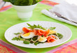 salad with eggs and salmon