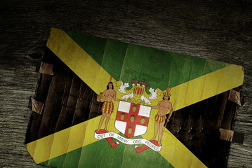 JAMAICAN ARMS OF COAT ON WOOD