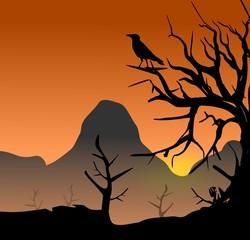 Baum mit Rabe - Mythologie - Landschaft