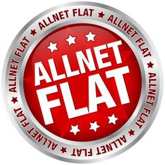 """Button Banner """"Allnet Flat"""" rot/silber"""