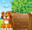 A tiger at the left side of a brick wall