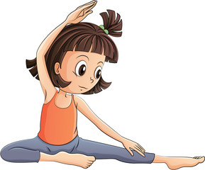 A girl doing yoga