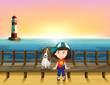 A boy, a dog and a light house