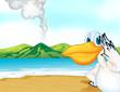 A volcano beach and a bird
