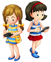 Two girls holding a gadget