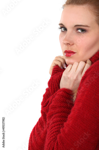 Woman in a red jumper