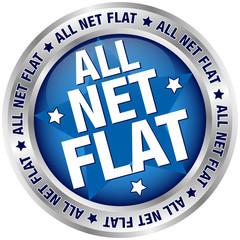 """Button Banner """"All Net Flat"""" blau/silber"""