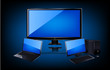 Lcd Tv,laptop and desktop PC,realistic vector illustration