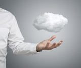 Cloud computing concept, businessman with cloud over hand