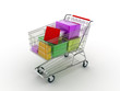 Shopping cart with gifts & bags