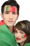 Two Portuguese football fans