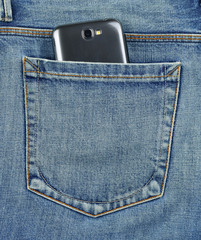Back pocket of jeans mobile phone