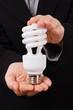 Business Woman Holds Economical Lightbulb