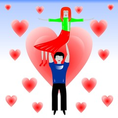 the man in love holds the woman on hands, illustration
