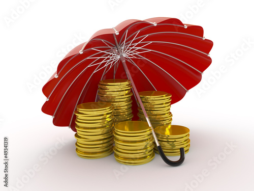 Stacks of golden coins covered by red umbrella