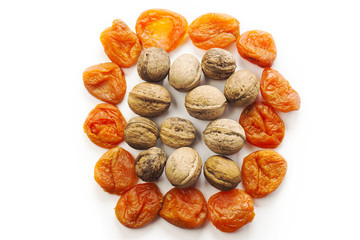 dried fruit on the white background