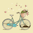 Vintage bicycle with flowers, vector illustration