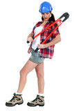 Attractive brunette holding bolt-cutters
