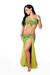 Beautiful Belly Dancer Wearing a Green Costume