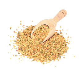 bee pollen isolated on white. Nutritional supplement