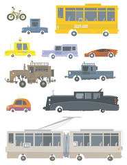 Cartoon vehicles.