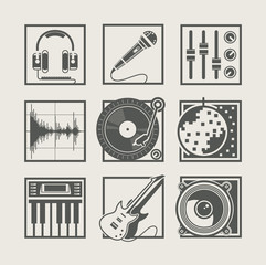 set of music instruments icons for disco party vector