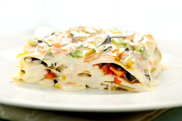 lasagne vegetariane con verdure e formaggio