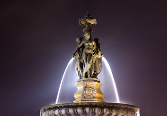 Fountain of the three graces, Bourse square, Bordeaux, Gironde,