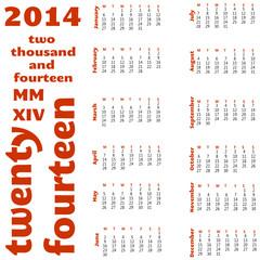 12 month 2014 calendar