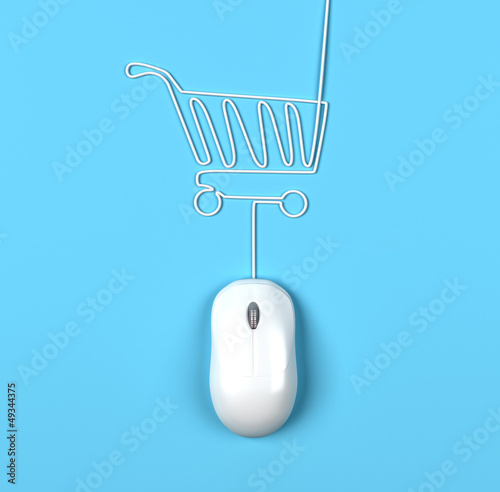 mouse and trolleyin form of lamp on a white background