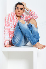 Fashionable and sweet guy portrait