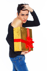 Fashionable and sweet guy holdin a gift