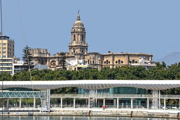 Catedral de Málaga y Paseo del Puerto en primer término