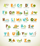 Ecology green alphabet with collection of vector elements poster