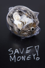 Savings in piggy bank! A lot of money!