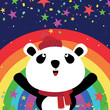 Panda and rainbow in the night sky