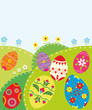 Easter background with decorative pattern eggs