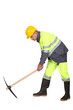 Road-worker with pick-axe