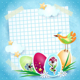 Easter background with paper sheet