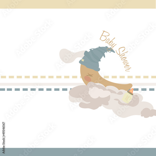crescent sleeping on clouds  infant illustration