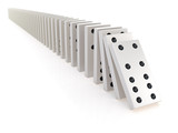 3d Chain of white dominoes falling over