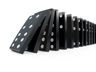 3d Black dominoes falling over from the side