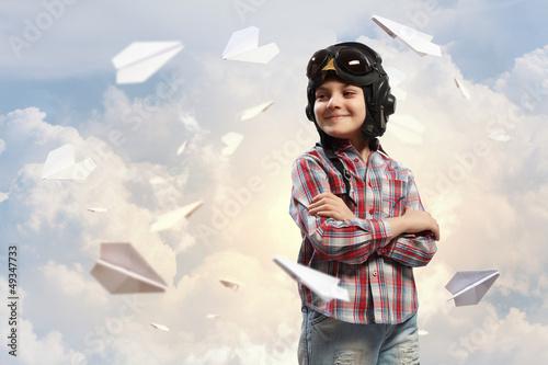 Little boy in pilot's hat - 49347733