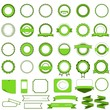 Set of sale badges, labels and stickers without text in green