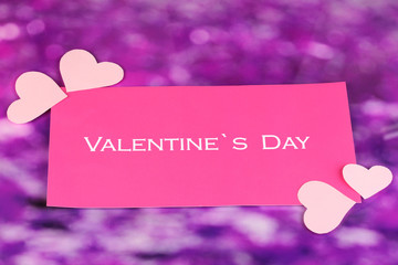 Greeting card for Valentine's Day on purple background