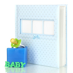 Baby photo album isolated on white